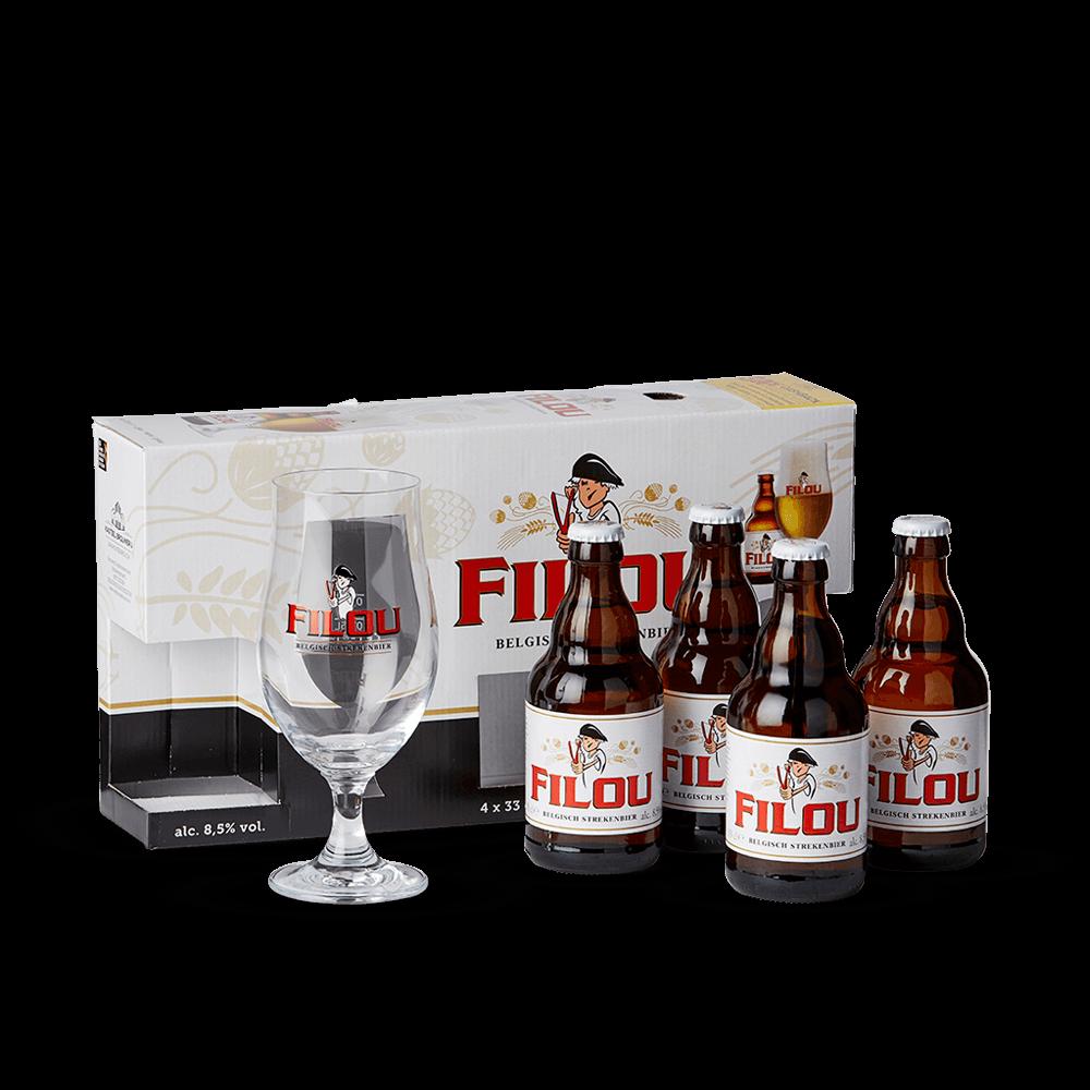 1 verre Coffret bi/ère FILOU 4 bouteilles 33 cl 1 porte-cl/é ouvre bouteille
